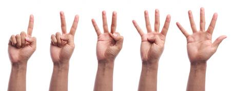 1 つに 5 本の指は、白い背景で隔離の手ジェスチャーをカウントします。 写真素材
