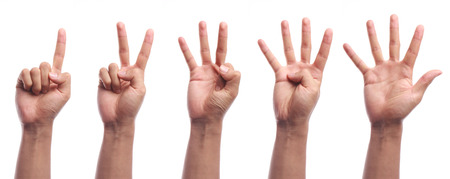 One to five fingers count hand gesture isolated on white background. Stok Fotoğraf - 37174197
