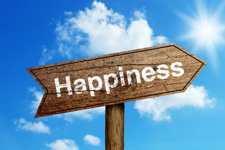 Happiness wooden road sign with shining blue sky background. Stock Photo