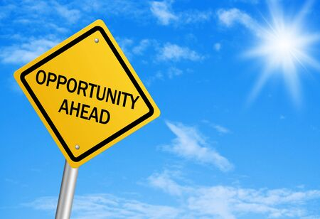 changing form: Opportunity ahead road sign with blue sky. Stock Photo