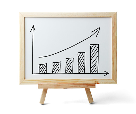 sales growth: Whiteboard with rising graph is isolated on white background.