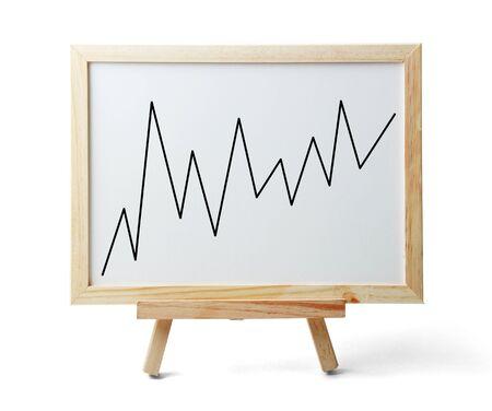 Whiteboard met stijgende grafiek is geïsoleerd op een witte achtergrond. Stockfoto
