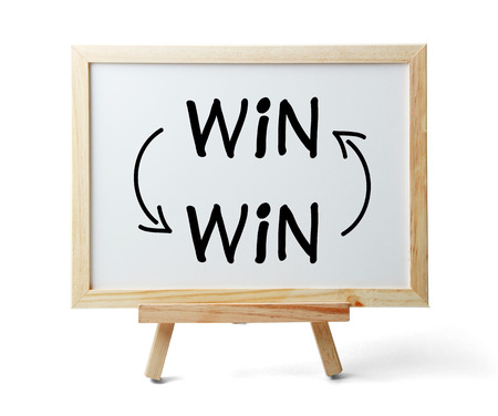 winning: Whiteboard with Win-Win Concept is isolated on white background.
