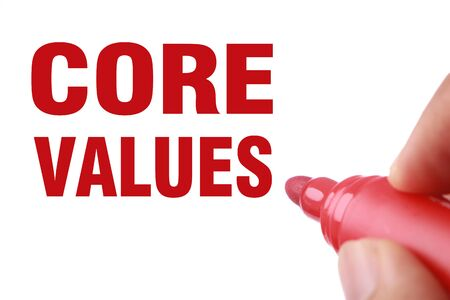 morale: Core Values text is written by red marker on white paper.