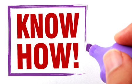 know how: Know how text is signed by marker on white paper.