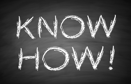 know how: Know how text is written by white chalk on blackboard.