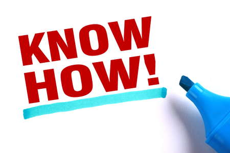 know how: Know how text and blue line with blue marker aside is on white paper. Stock Photo
