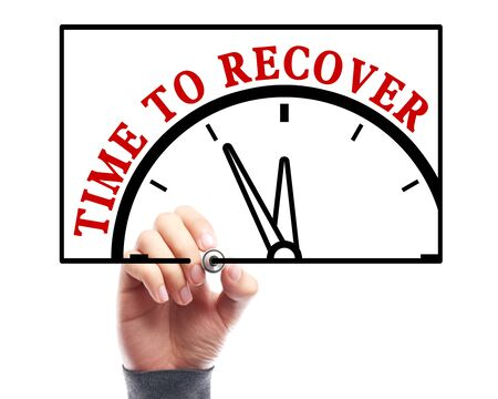 Businessman is drawing the concept of time to recover on transparent white board. Stock Photo