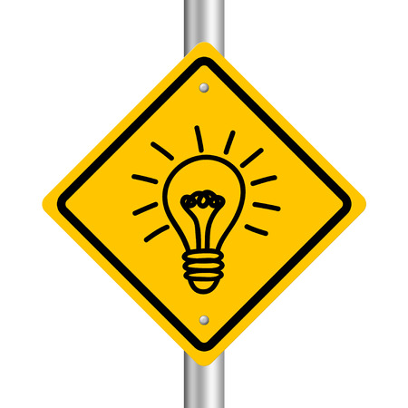 Bulb road sign is isolated on white background. photo