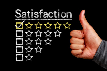 Satisfaction concept is on the blackboard with thumb up hand aside.