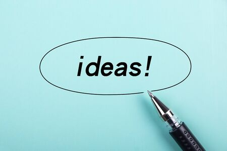 aside: Ideas text is on blue paper with black ball-point pen aside.