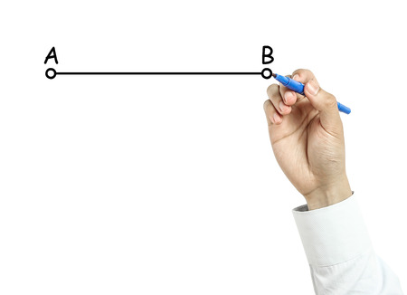 Businessman is drawing line from A to B concept with blue marker on transparent board isolated on white background. photo
