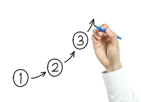 Homme d'affaires tire étapes ou des plans notion avec le marqueur bleu à bord transparent isolé sur fond blanc. Banque d'images - 38939421