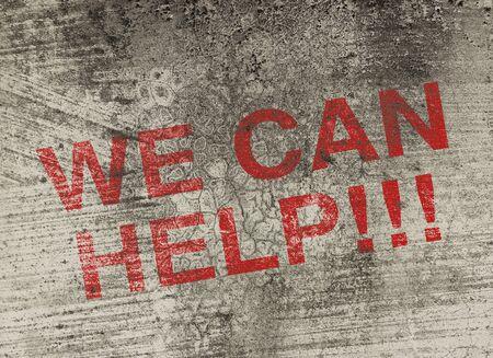 personas ayudando: Podemos ayudarle texto concepto está pintado en la pared de la moda antigua. Foto de archivo