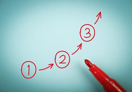 Schritt für Schritt-Konzept ist auf blauem Papier mit einem roten Stift beiseite. Standard-Bild - 40366837