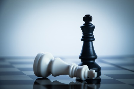 chess pawn: Checkmate black chess defeats white king on the chess board.