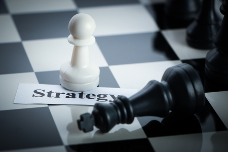two minds: Chess strategy concept chess on the chess board. Stock Photo