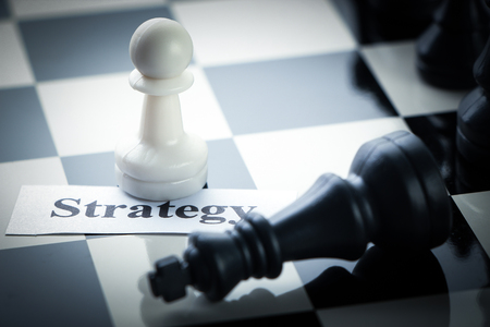 chess board: Chess strategy concept chess on the chess board. Stock Photo