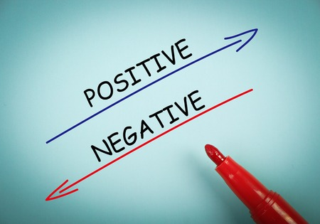 aside: Positive and negative concept is on blue paper with a red marker aside.