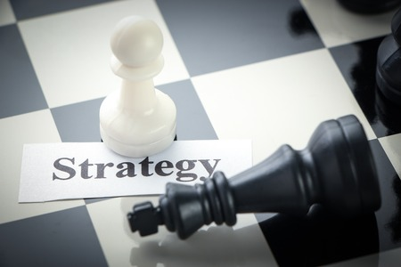 outwit: Chess strategy concept chess on the chess board. Stock Photo