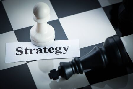 chess move: Chess strategy concept chess on the chess board. Stock Photo