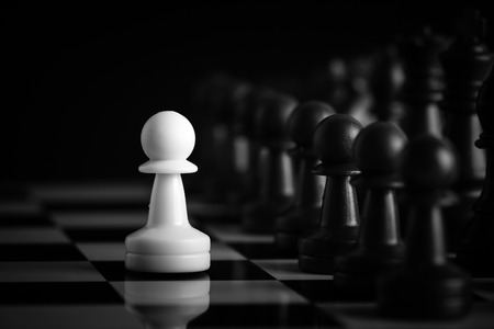 caballo de ajedrez: Uno de ajedrez se queda contra el ej�rcito completo de piezas de ajedrez.