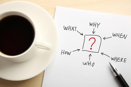 onbeantwoorde: Business concept papier op het bureau met een kopje koffie en een balpen opzij. Stockfoto