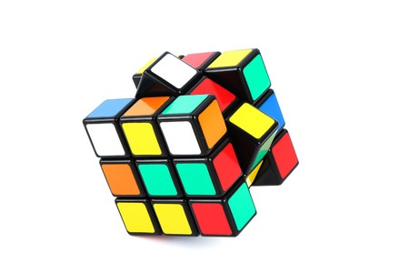 Rubik's Cube is isolated on white background. 에디토리얼