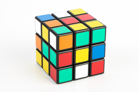 Rubik's Cube is isolated on white background. Éditoriale