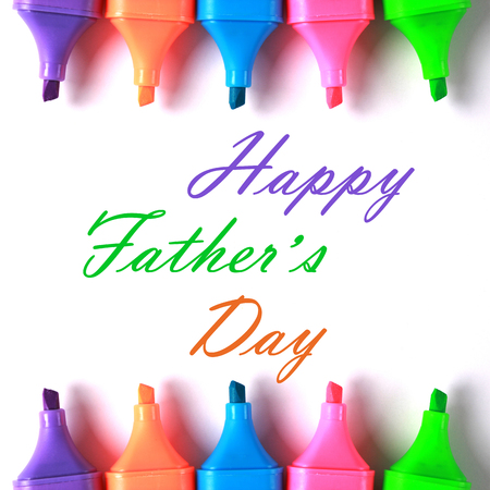 gratefulness: Happy Fathers Day with some colorful markers. Stock Photo