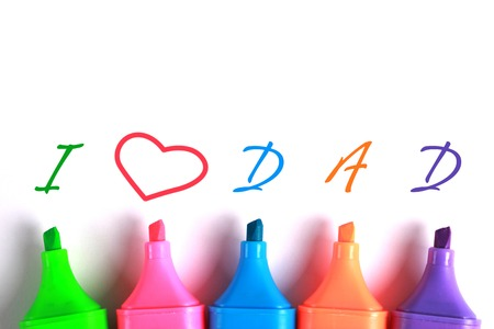 gratefulness: I Love Dad text with some colourful markers. Stock Photo