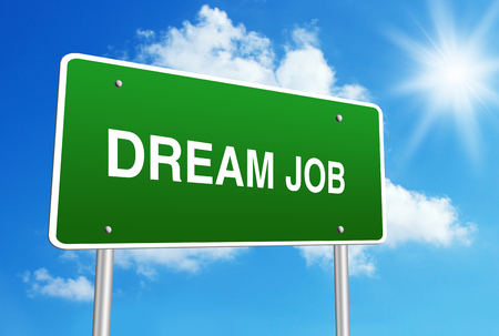 dream job: Dream job road sign with blue shiny sky background. Stock Photo