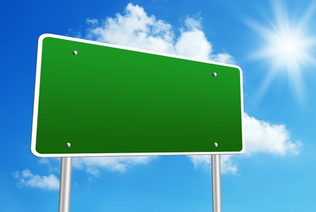 Blank road sign with blue shiny sky background. Standard-Bild