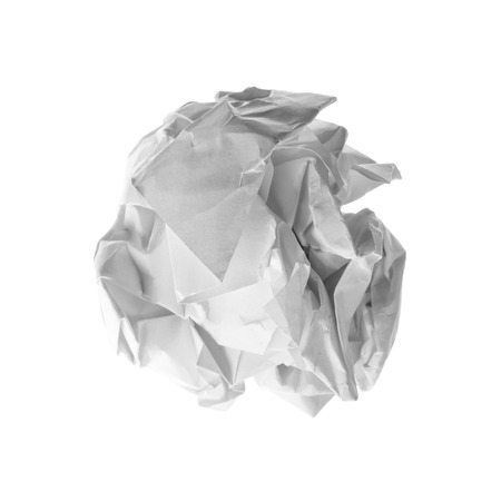 scrunch: Close up of a paper ball on white background  Stock Photo