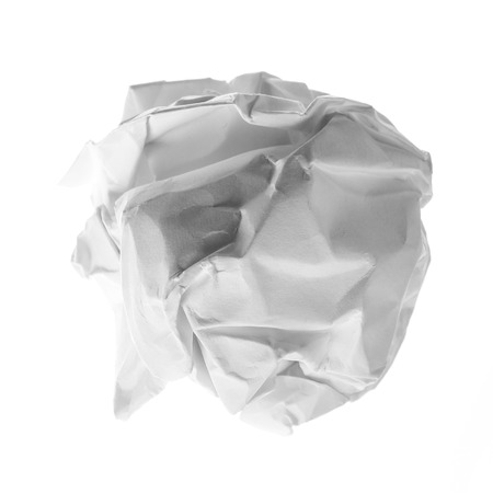 scrunch: Close up of a paper ball on white background