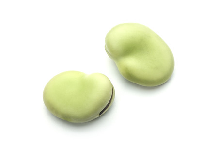 fave bean: Fresh broad bean is isolated on white background. Stock Photo