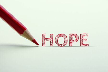 aside: The word of hope is on the paper with red pencil aside.