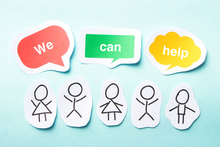 can we help: Happy paper people with speech bubbles of We can help text on the blue background.