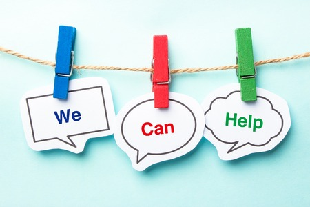 We can help bubble with clip hanging on the line with blue background.