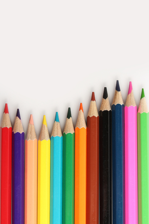 polychromatic: Color pencils on the white background