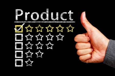 controlling: Product rating concept on the blackboard Stock Photo