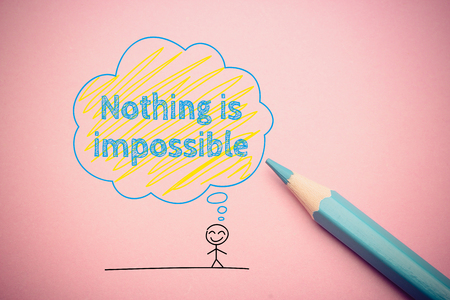 nothing: Happy cartoon man with Nothing is impossible concept