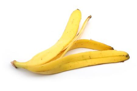 バナナの皮は、白い背景で隔離。
