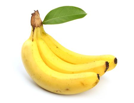banana skin: Fresh banana is isolated on white background. Stock Photo