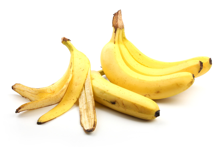 banana skin: Bananas and banana skin are isolated on white.