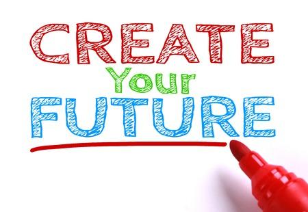 Text Maak je toekomst met rode marker opzij geïsoleerd op wit papier achtergrond