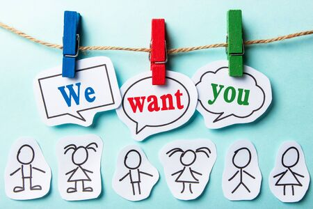 We want you paper speech bubbles with some paper person