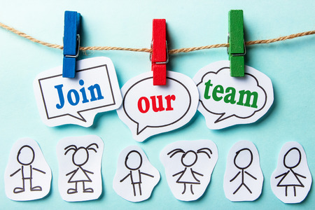 Join our team paper speech bubbles with paper people