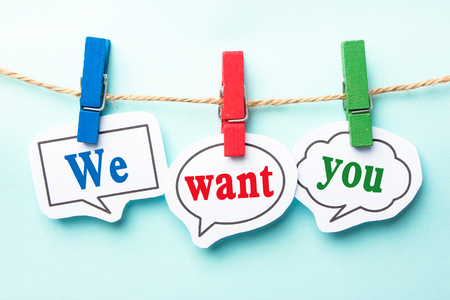 well dressed woman: We want you concept paper speech bubbles with line on the light blue background. Stock Photo