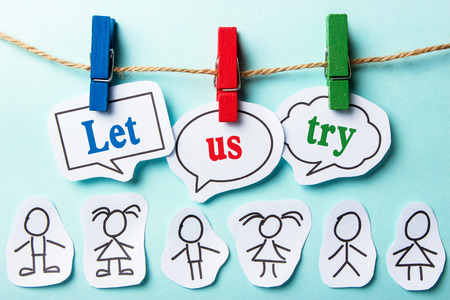 let: Let us try paper speech bubbles with paper people